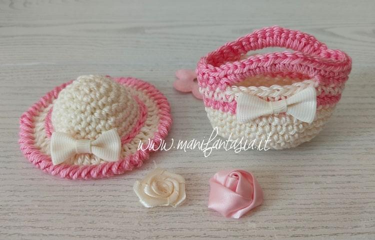 mini cappellino a uncinetto per barbie