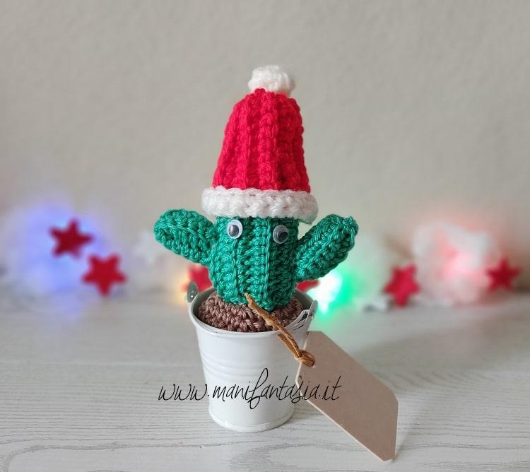 cactus uncinetto segnaposto natalizio